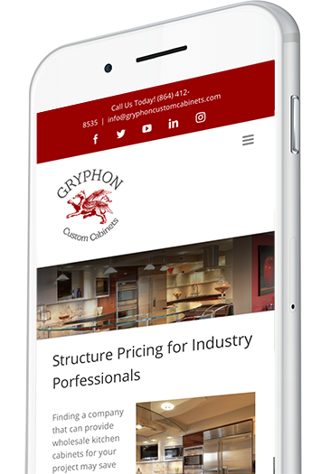 Custom Cabinet Supplier Website Design on a Mobile Device