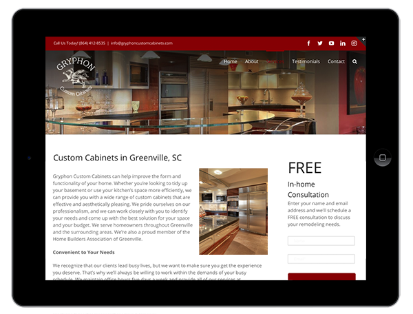 Custom Cabinet Supplier Website Design on a Tablet