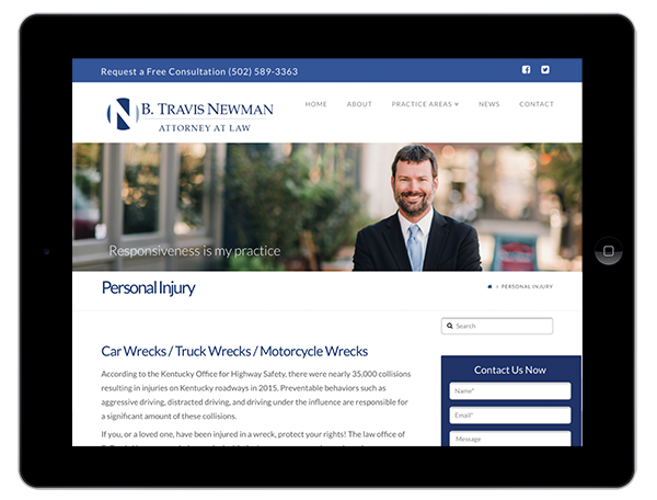 Attorney Website Design on a Tablet