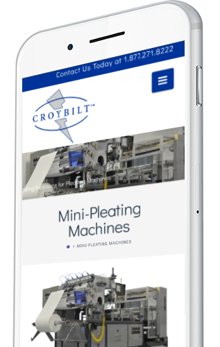 Pleating Machine Manufacturer Website Design on a Mobile Device