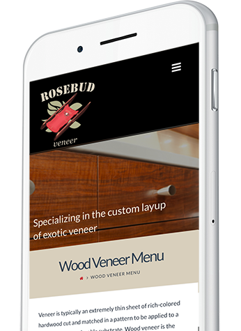 Wood Veneer Supplier Website Design on a Mobile Device