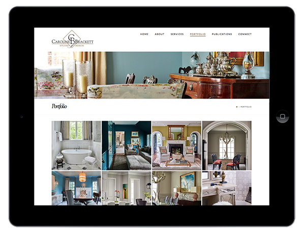 Interior Design Website Design on Tablet