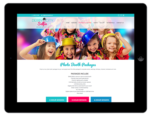 Open Air Photobooth Website Design on a Tablet