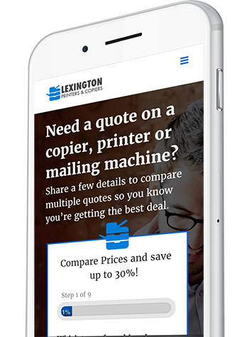 Printer & Copier Quote Website Design on a Mobile Device
